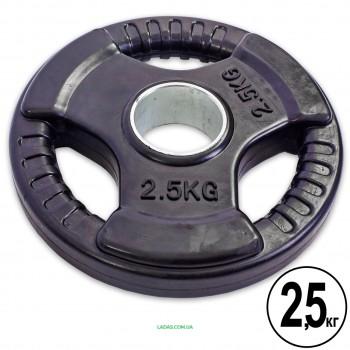 Блины (диски) обрезиненные с тройным хватом и метал. втулкой d-52 мм Zelart (1шт*2,5 кг)(скидка за пару)