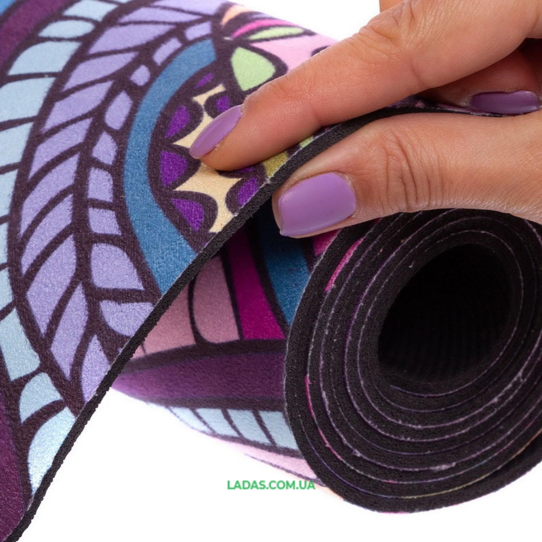 Коврик для йоги Замшевый каучуковый двухслойный Record (размер 1,83мx0,61мx3мм)