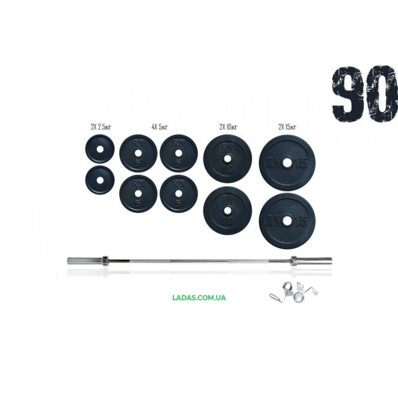 Штанга 90 кг олимпийская с хромированным грифом 10 блинами