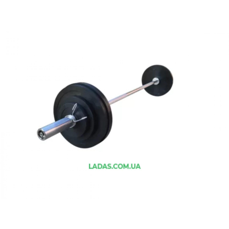 Штанга 80 кг с олимпийским хромированным грифом с  8 обрезиненными блинами