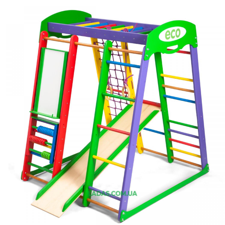 Детский игровой комплекс для дома Акварелька с прямой горкой, мольбертом и счетами