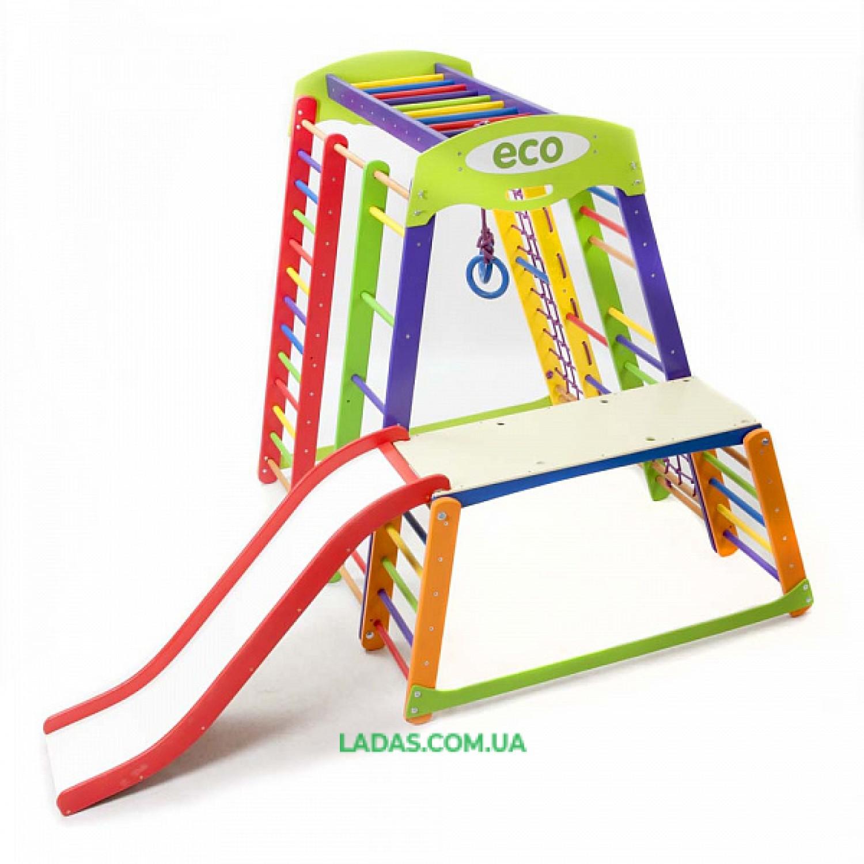 """Детский игровой комплекс для дома Акварелька PLUS1-1 с горкой """"волна"""" и столом-тумбой"""