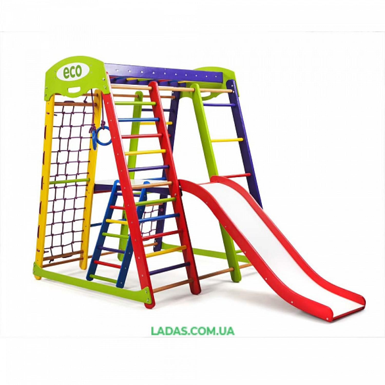 """Детский игровой комплекс для дома Акварелька PLUS2  с горкой """"волной"""" и столиком с лестницей"""