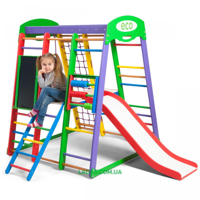 """Детский игровой комплекс для дома Акварелька PLUS3 с горкой """"волна"""", полкой с лестницей, мольбертом и счетами"""