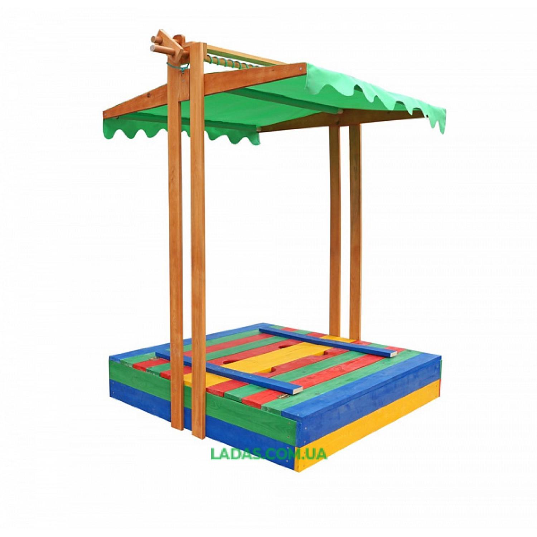 Детская Песочница с крышкой - сиденьями с защитой от солнца и дождя цветная Spb-10