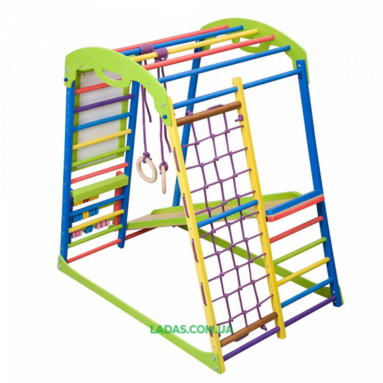 Детский спортивно-игровой комплекс для дома SportWood Plus с прямой горкой, счетами и мольбертом