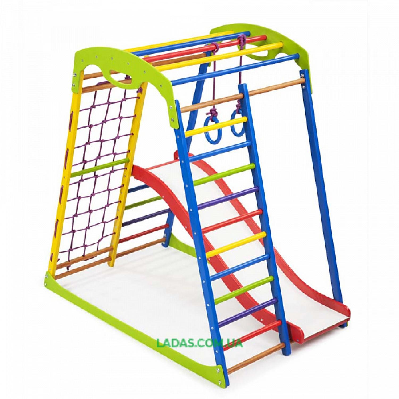 """Детский спортивно-игровой комплекс для дома SportWood Plus 1 с горкой """"волна"""""""