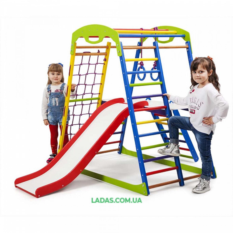 """Детский спортивно-игровой комплекс для дома SportWood Plus 2 с горкой """"волной"""", лесенкой, столиком"""