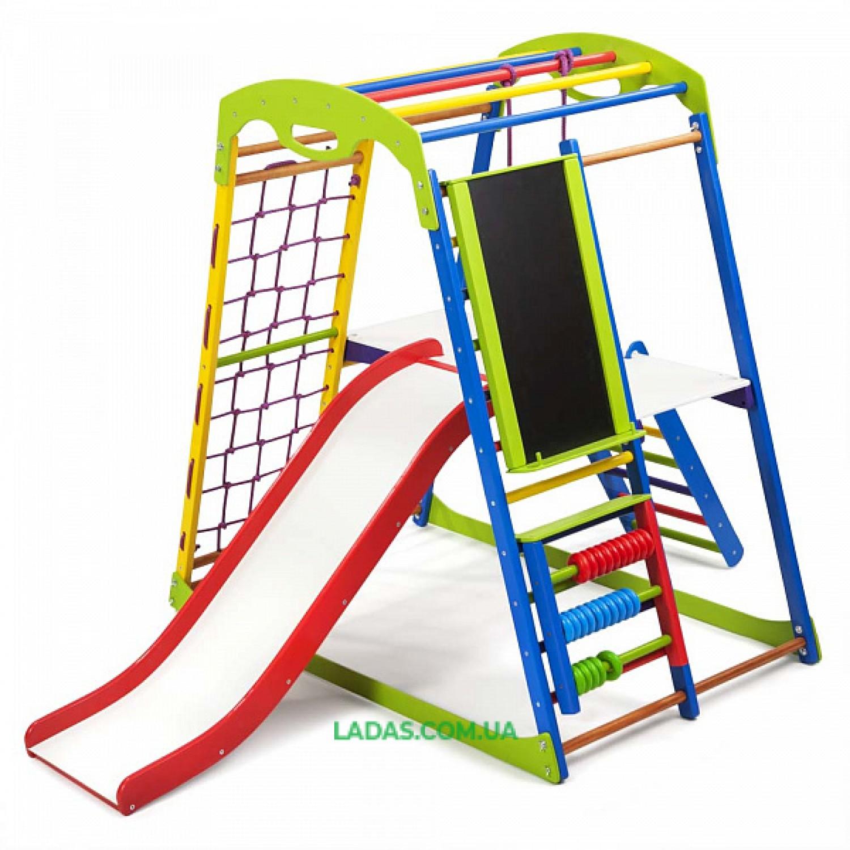 """Детский спортивно-игровой комплекс для дома SportWood Plus 3 с горкой """"волной"""", лесенкой, столиком, счетами и мольбертом"""
