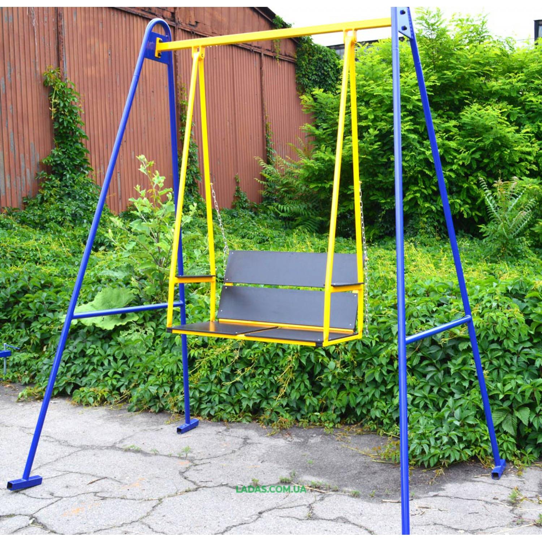Двухместная уличная металлическая качель Гойдалка-3 (под бетонирование)