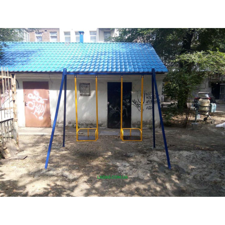 Двухместная уличная металлическая качель Гойдалка-2 (под бетонирование)